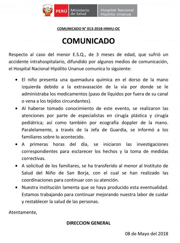 COMUNICADO NINO QUEMADO 2