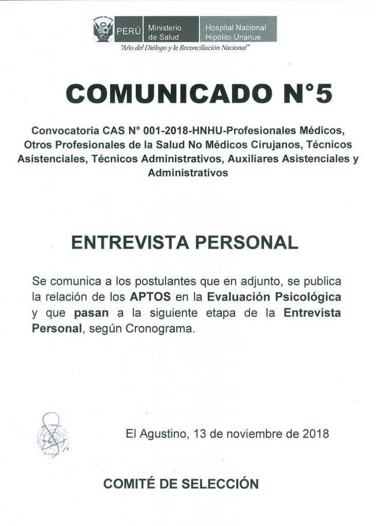 COMUNICADO 5 CAS